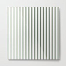 Large Dark Forest Green and White Mattress Ticking Stripes Metal Print