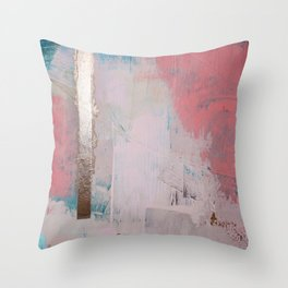 Morning Light: a minimal abstract mixed-media piece in pink gold and blue by Alyssa Hamilton Art Throw Pillow