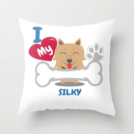 SILKY Terrier Cute Dog Gift Idea Funny Dogs Throw Pillow