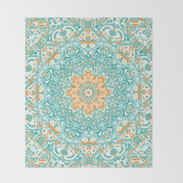 Orange and Turquoise Floral Mandala Throw Blanket