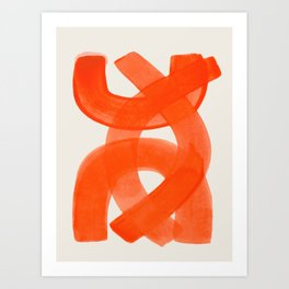 Mid Century Modern Abstract Painting Orange Watercolor Brush Strokes Art Print