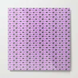 Hand drawn Eyes Pattern - Purple Metal Print