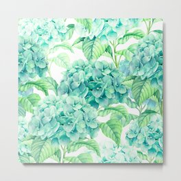Hand painted green watercolor hydrangea floral pattern Metal Print