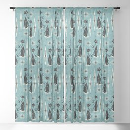 Mid Century Meow Retro Atomic Cats on Blue Sheer Curtain