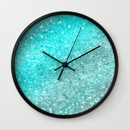 Aqua Teal Ocean Glitter #1 #shiny #decor #art #society6 Wall Clock
