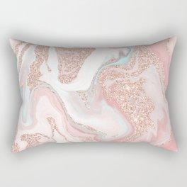 Modern rose gold glitter coral gray pastel marble marbling effect pattern Rectangular Pillow