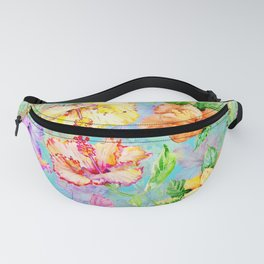 Tropical Summer Pastel Hibiscus Fanny Pack