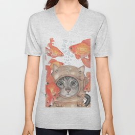 Scuba Cat Among the Fishes Unisex V-Neck