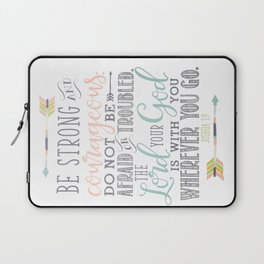 Joshua 1:9 Christian Bible Verse Typography Design Laptop Sleeve
