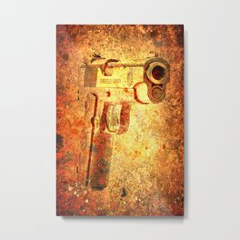 M1911 Muzzle On Rusted Background 3/4 View Metal Print