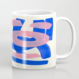 Tribal Pink Blue Fun Colorful Mid Century Modern Abstract Painting Shapes Pattern Coffee Mug