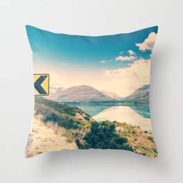 Lake Road Sign Throw Pillow