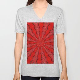 Red and Black Abstract Unisex V-Neck