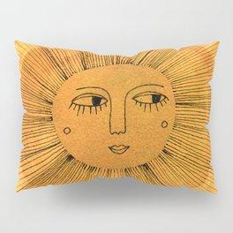 Sun Drawing Gold and Blue Kissenbezug