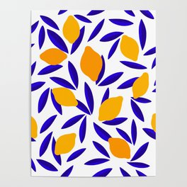 Blue and yellow Lemon Summery Pattern Poster