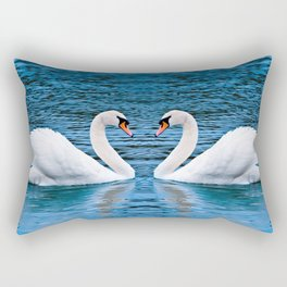 Gracious Lovely Big White Water Birds Romantic Kissing Zoom UHD Rectangular Pillow