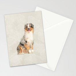 Australian Shepherd - Blue Merle Watercolor Digital Art Stationery Cards