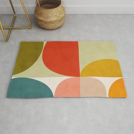 shapes of mid century geometry art Rug