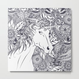 Whimsy unicorn and floral mandala design Metal Print