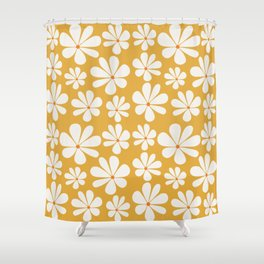 Floral Daisy Pattern - Golden Yellow Shower Curtain