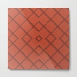 Bamboo Lattice Mudcloth in Rust + Terracotta Metal Print