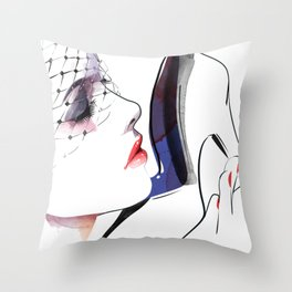 Woman holding shoes, Fashion Beauty, Fashion Painting, Fashion IIlustration, Vogue Portrait, #16 Throw Pillow