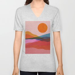 Abstraction_OCEAN_Beach_Minimalism_001 Unisex V-Neck