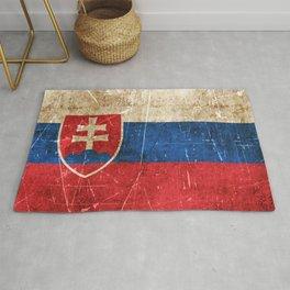 Vintage Aged and Scratched Slovakian Flag Rug
