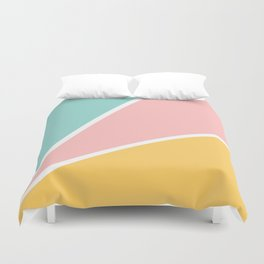 Tropical summer pastel pink turquoise yellow color block geometric pattern Duvet Cover