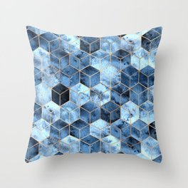 Blue Marble Gradient Cubes Throw Pillow