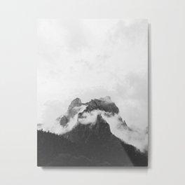 Misty Mountain Peak Black & White Minimalist Landscape Photography Metal Print