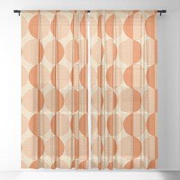 Abstract Circles pattern orange Sheer Curtain