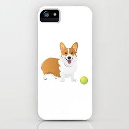 Corgi Dog with a Green Ball iPhone Case