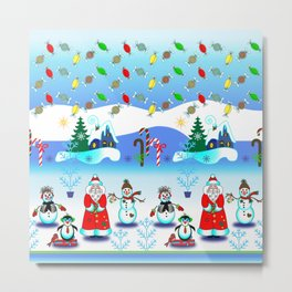 Festive Block Party Clear Skies, Christmas and Holiday Fantasy Collection Metal Print