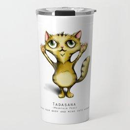 yoga cat tadasana Travel Mug