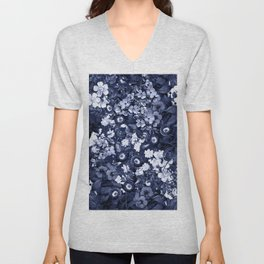 Bohemian Floral Nights in Navy Unisex V-Neck