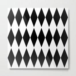 LARGE  WHITE AND BLACK   HARLEQUIN DIAMOND PATTERN Metal Print