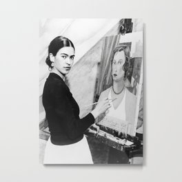 Frida Painting at Easel, Black and White Vintage Photograph Metal Print