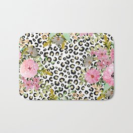 Elegant leopard print and floral design Bath Mat
