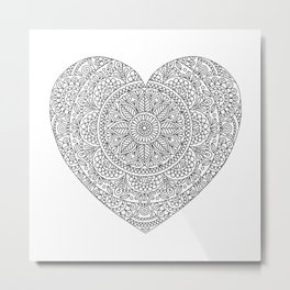 Mandala Heart with Flowers and Leaves for Adult Coloring Metal Print