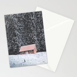Snowy Cabin-Giant Forest and a Snowy Landscape Stationery Cards