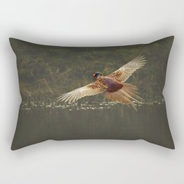 Male pheasant in flight Rectangular Pillow