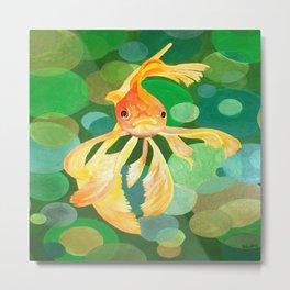 Vermilion Goldfish Swimming In Green Sea of Bubbles Metal Print
