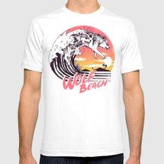Wolf Beach White MEDIUM Mens Fitted Tee