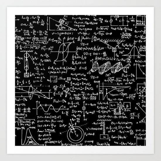 Physics Equations on Chalkboard by thinlinetextiles