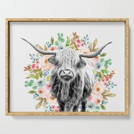 Cutest Highland Cow With Flowers Serving Tray