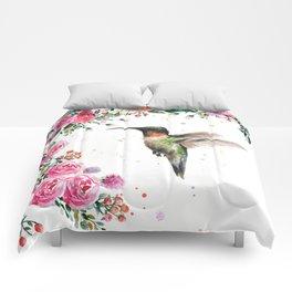 Hummingbird and Flowers Watercolor Animals Comforters