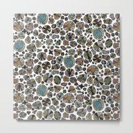Barca Dots Pattern brown/grey Metal Print