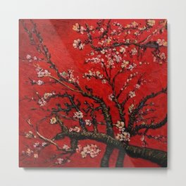 Almond Tree in Blossom - Red Motif by Vincent van Gogh Metal Print