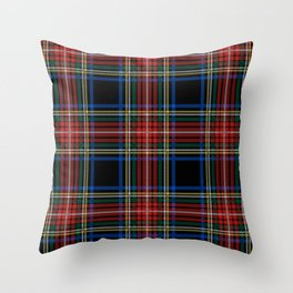 Minimalist Black Stewart Tartan Throw Pillow